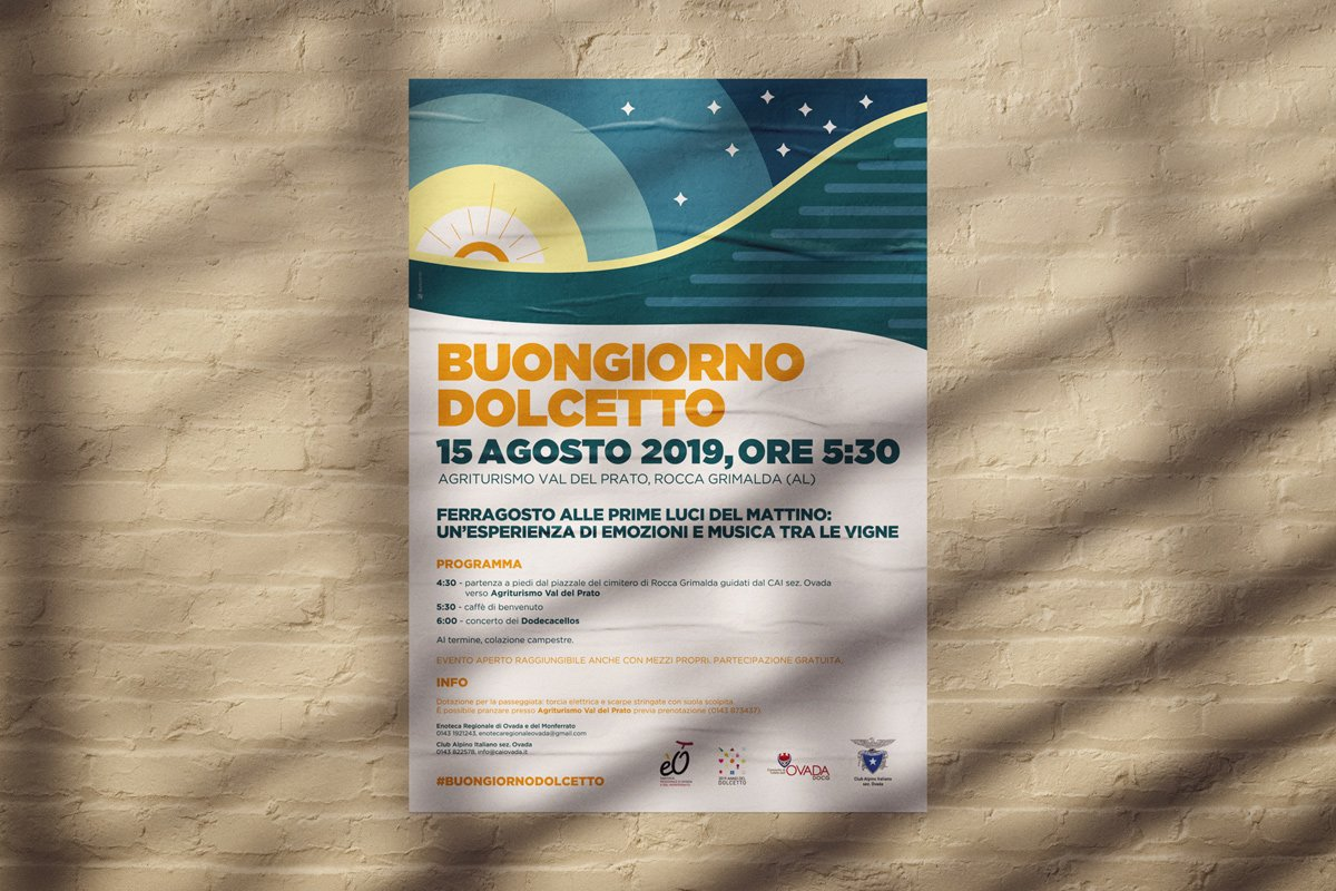 Poster per escursione notturna con concerto in collina