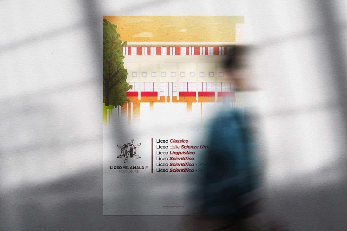 Poster istituzionale con gli indirizzi del liceo Amaldi di Novi Ligure