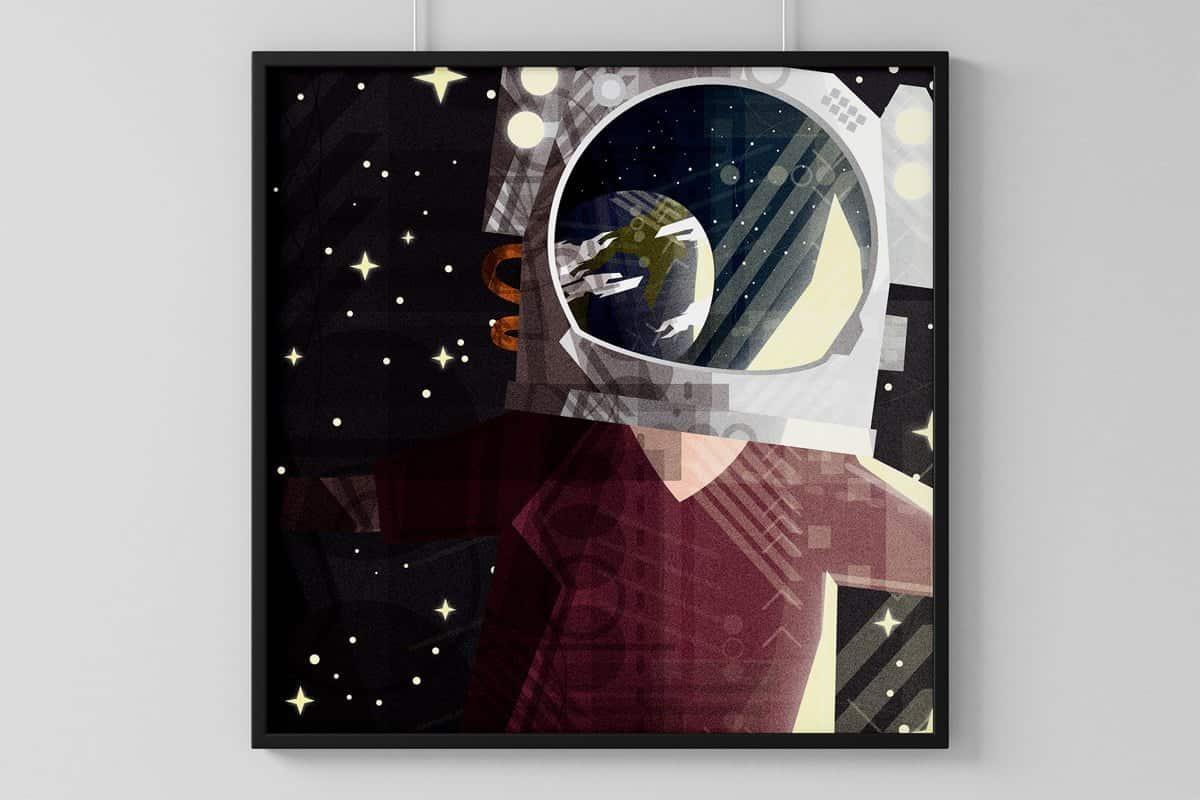 Cosmonauta che guarda la Terra dallo spazio