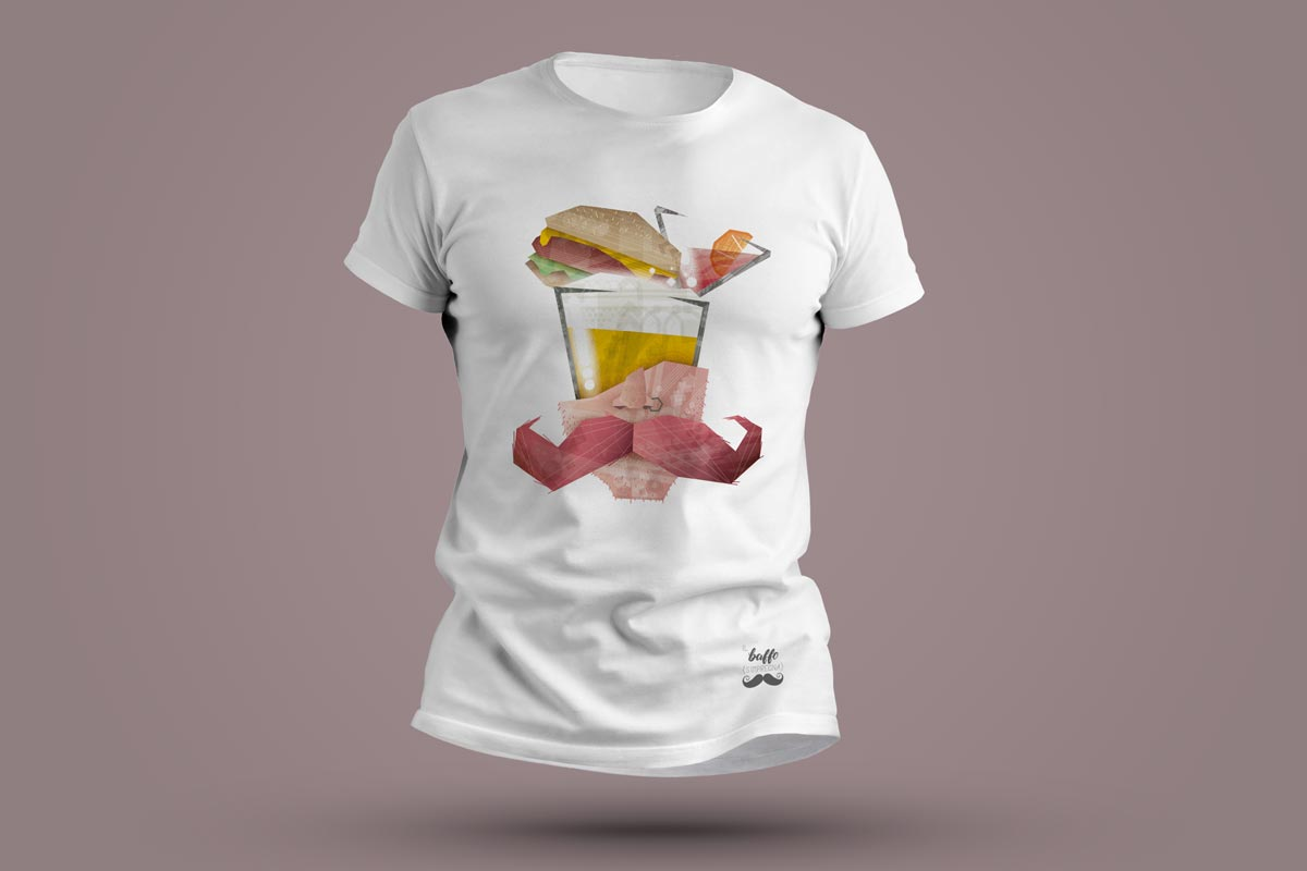 T-shirt baffo, birra, hamburger