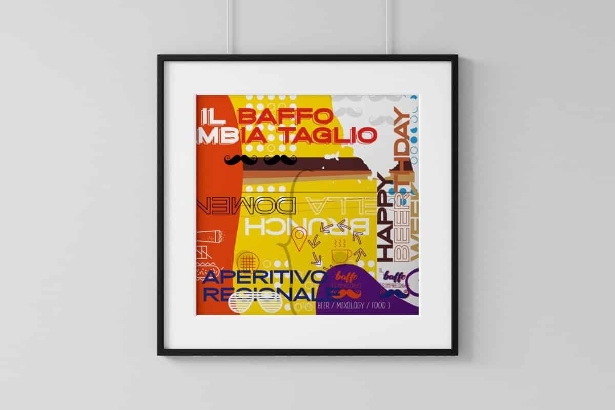 Collage di grafiche per Il Baffo s'impregna