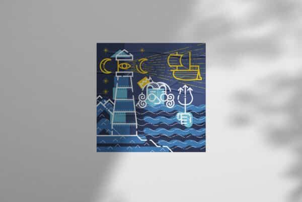Illustrazione di Poseidone con faro, mare e vascello con mascherina