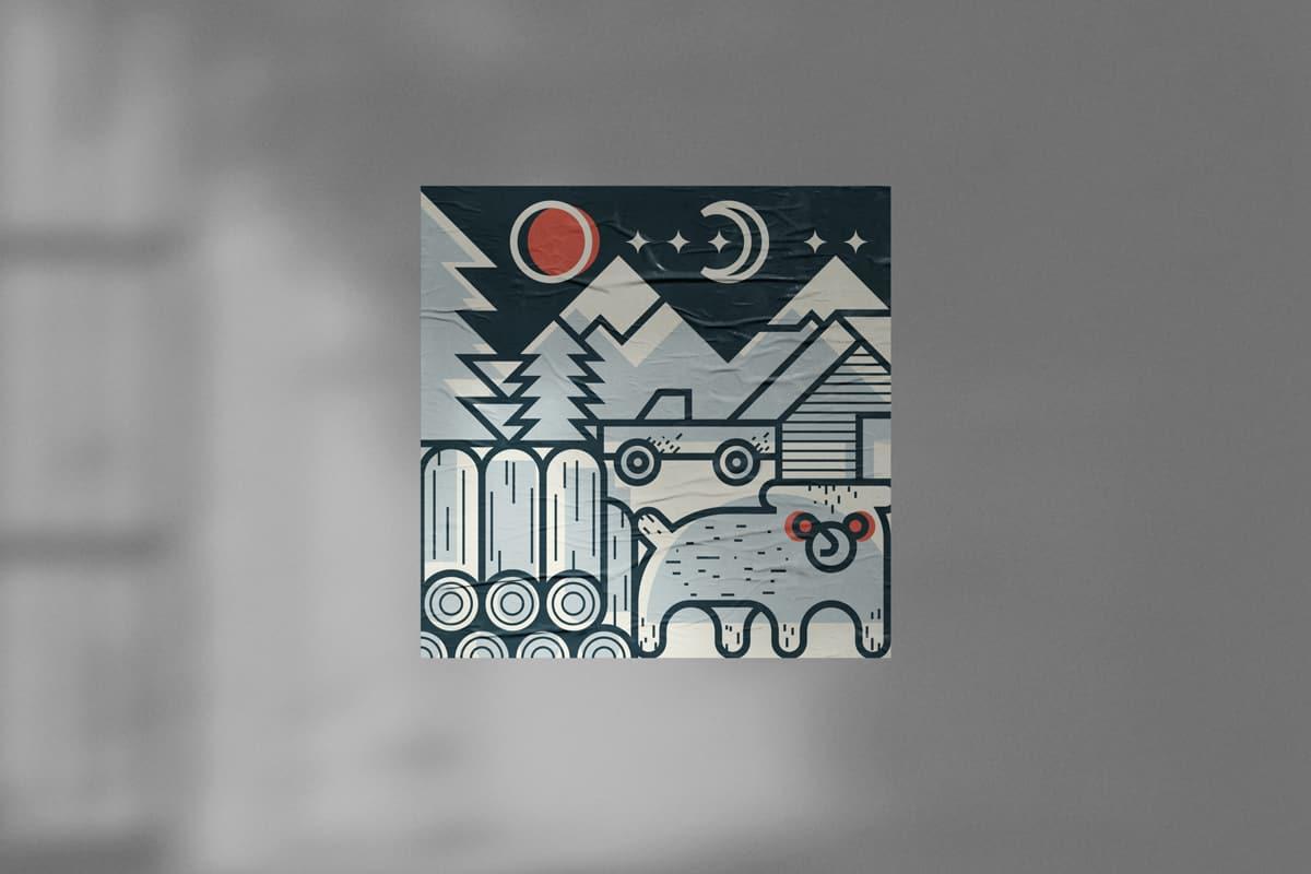 Illustrazione Canada con montagne, orso, legna e pickup