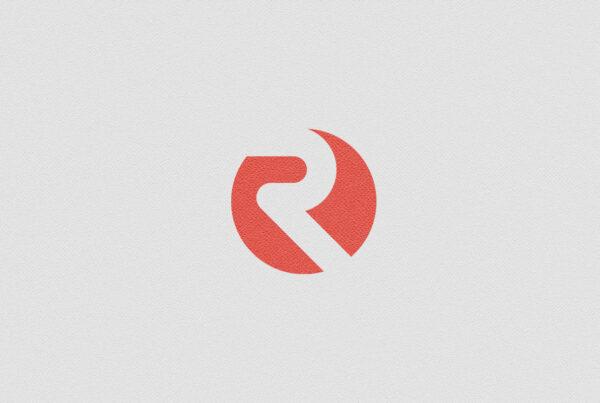 Negative space R logo